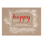 Business Rustic fir branch & cone frame Christmas Card