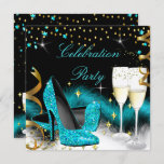 Celebration Champagne Party Teal Blue High Heels Invitation