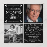 Chalkboard 80th Birthday Square Photo Invitation