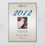 Champagne Blue Heart Scroll Graduation Announcement