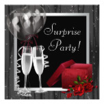 Champagne Sparkles Black White Surprise Party Card