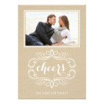 Cheers craft paper rustic Christmas flat photo Card