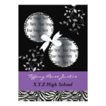 chic purple double photo Graduation Card