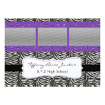 chic purple triple photo film strip Graduation Card
