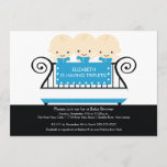 Chic TRIPLETS in Crib Baby Shower Invitation Blue