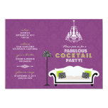 Chic Zebra Cocktail Party Invitation (purple)