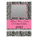chic zebra pink Graduation photo Invitation
