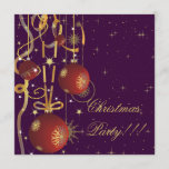 Christmas Balls & Ribbons purple Party Invitation