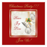 Christmas Bells And Ornaments Party  Invitation