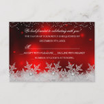 Crystal Snowflake Red Christmas Party RSVP