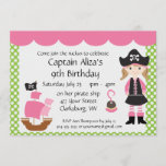 Customizable Pink Pirate Girl Birthday Party Invitation