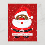 Cute African-American Santa Claus and snow Holiday Postcard