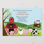 Cute Barnyard Animal Fun Birthday Party Invitation