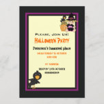 Cute Halloween haunted house and little witch Invitation