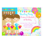 Cute Twin Girls Bowling Birthday Party Invitation