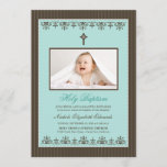 "Darling Victorian 5x7"" Aqua Baptism Invitation"