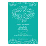 Eegant Teal Sweet Sixteen Birthday Invitation