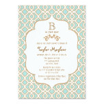 Eggshell Blue Gold Moroccan Baby Boy Shower Invitation