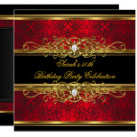Elegant 50th Birthday Party Red Black Gold Damask Card