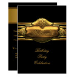 Elegant Black Gold Birthday Party Mens 60th Invitation