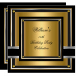Elegant Black Gold Silver Birthday Party Mens Mans Invitation