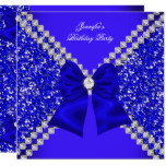 Elegant Glitter Royal Blue Diamonds Birthday Party Card