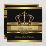 Elegant Royal Black Gold Birthday Prince King Invitation