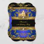 Elegant Royal Blue Black King Queen Birthday Party Invitation