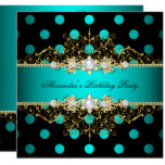 Elegant Teal Gold Black Polka Dots Birthday Party Card