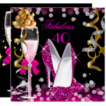Fabulous 40 Hot Pink Gold Black Bubbles Party Card