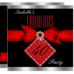 Fabulous 40 Red Black Silver Birthday Party Card