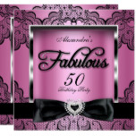 Fabulous 50 Party Pink Damask Black Lace Card