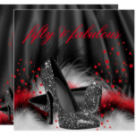 Fabulous 50 Red Black High Heels Birthday Party Card