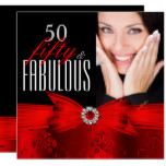 Fabulous 50 Red Black Photo Birthday Party Card