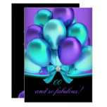 Fabulous Teal Purple Balloons Black Birthday Card
