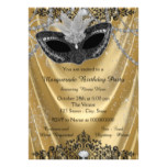 Fancy Black and Gold Masquerade Party Card