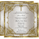 Gold Beige Pearl Damask Cross Baptism/Christening Card