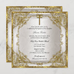Gold Beige Pearl Damask Cross Baptism/Christening Invitation