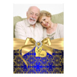 Gold Blue Damask & Bow Photo 50th Anniversary Invitation