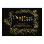 Gold fir branch with cones black Christmas party Invitation