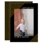 Gold glitter stripes New Year trendy black photo Card