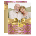 Gold Pink Damask & Bow Photo 50th Anniversary Invitation
