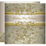 Gold Silver Cream Embossed Look Elegant Party Invitation