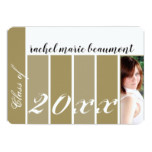 Gold Stripe Photo Graduation Announcement