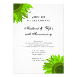 Green Pop Art Sunflower Wedding Anniversary Party Card