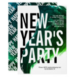 Green, white watercolor New Year's 2019 Eve party Invitation