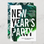 Green, white watercolor New Year's Eve party Invitation
