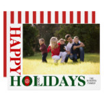 Happy Holidays 2017 red stripes Christmas photo Card
