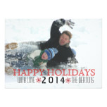 Happy Holidays, red snowflake modern photo Card
