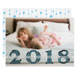 Happy New Year 2018 bold blue, black photo Card